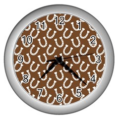Horse Shoes Iron White Brown Wall Clocks (silver)  by Mariart