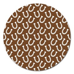 Horse Shoes Iron White Brown Magnet 5  (round) by Mariart