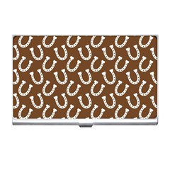 Horse Shoes Iron White Brown Business Card Holders by Mariart