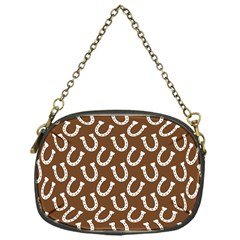 Horse Shoes Iron White Brown Chain Purses (one Side)  by Mariart