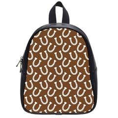 Horse Shoes Iron White Brown School Bags (small)  by Mariart