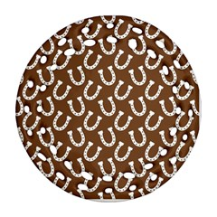 Horse Shoes Iron White Brown Round Filigree Ornament (two Sides) by Mariart