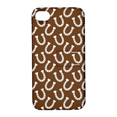 Horse Shoes Iron White Brown Apple Iphone 4/4s Hardshell Case With Stand by Mariart