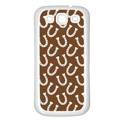 Horse Shoes Iron White Brown Samsung Galaxy S3 Back Case (white) by Mariart
