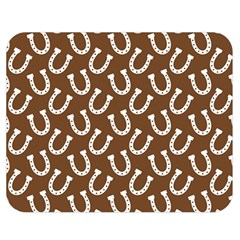 Horse Shoes Iron White Brown Double Sided Flano Blanket (medium)  by Mariart