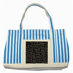 Happy Holidays Striped Blue Tote Bag by Mariart