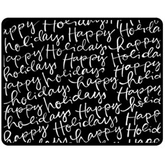 Happy Holidays Double Sided Fleece Blanket (medium)  by Mariart