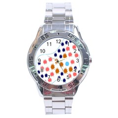 Island Top View Good Plaid Spot Star Stainless Steel Analogue Watch by Mariart