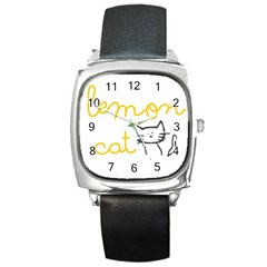 Lemon Animals Cat Orange Square Metal Watch by Mariart