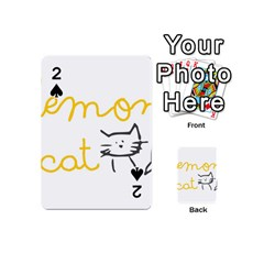 Lemon Animals Cat Orange Playing Cards 54 (mini)  by Mariart