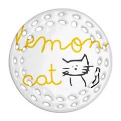Lemon Animals Cat Orange Ornament (round Filigree) by Mariart