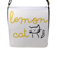 Lemon Animals Cat Orange Flap Messenger Bag (l)  by Mariart