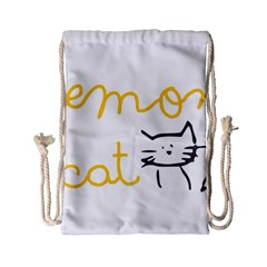 Lemon Animals Cat Orange Drawstring Bag (small) by Mariart