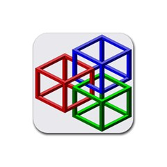 Impossible Cubes Red Green Blue Rubber Coaster (square)  by Mariart