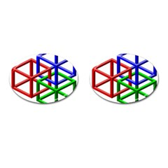 Impossible Cubes Red Green Blue Cufflinks (oval) by Mariart