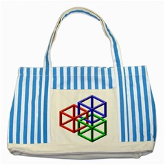 Impossible Cubes Red Green Blue Striped Blue Tote Bag by Mariart
