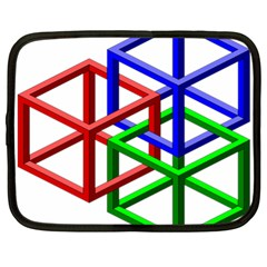 Impossible Cubes Red Green Blue Netbook Case (xl)  by Mariart