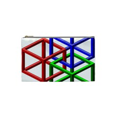 Impossible Cubes Red Green Blue Cosmetic Bag (small)  by Mariart