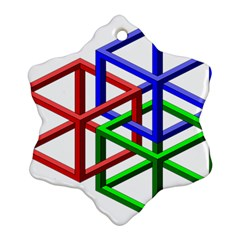 Impossible Cubes Red Green Blue Snowflake Ornament (two Sides) by Mariart