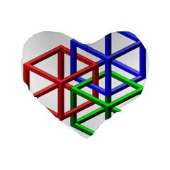 Impossible Cubes Red Green Blue Standard 16  Premium Flano Heart Shape Cushions by Mariart