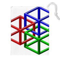 Impossible Cubes Red Green Blue Drawstring Pouches (xxl) by Mariart