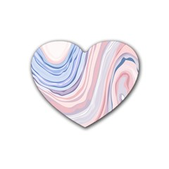 Marble Abstract Texture With Soft Pastels Colors Blue Pink Grey Heart Coaster (4 Pack)  by Mariart