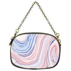 Marble Abstract Texture With Soft Pastels Colors Blue Pink Grey Chain Purses (one Side)  by Mariart