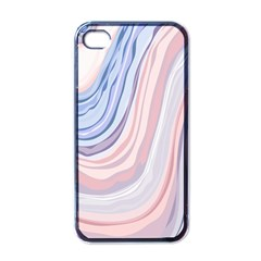 Marble Abstract Texture With Soft Pastels Colors Blue Pink Grey Apple Iphone 4 Case (black) by Mariart
