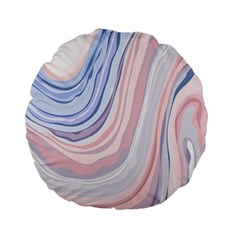 Marble Abstract Texture With Soft Pastels Colors Blue Pink Grey Standard 15  Premium Round Cushions by Mariart