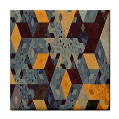 Apophysis Isometric Tessellation Orange Cube Fractal Triangle Tile Coasters by Mariart