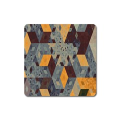 Apophysis Isometric Tessellation Orange Cube Fractal Triangle Square Magnet by Mariart