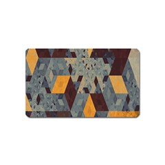 Apophysis Isometric Tessellation Orange Cube Fractal Triangle Magnet (name Card) by Mariart