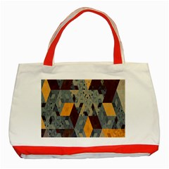 Apophysis Isometric Tessellation Orange Cube Fractal Triangle Classic Tote Bag (red) by Mariart