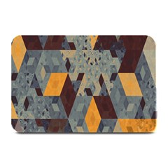Apophysis Isometric Tessellation Orange Cube Fractal Triangle Plate Mats by Mariart