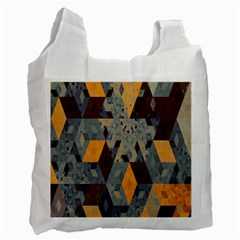 Apophysis Isometric Tessellation Orange Cube Fractal Triangle Recycle Bag (one Side) by Mariart