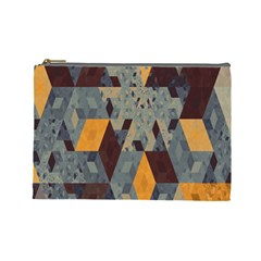 Apophysis Isometric Tessellation Orange Cube Fractal Triangle Cosmetic Bag (large)  by Mariart