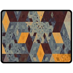 Apophysis Isometric Tessellation Orange Cube Fractal Triangle Fleece Blanket (large)  by Mariart
