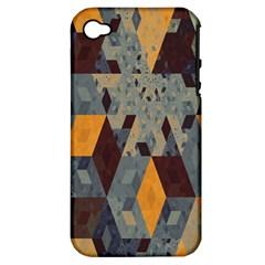 Apophysis Isometric Tessellation Orange Cube Fractal Triangle Apple Iphone 4/4s Hardshell Case (pc+silicone) by Mariart