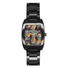 Apophysis Isometric Tessellation Orange Cube Fractal Triangle Stainless Steel Barrel Watch by Mariart