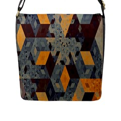 Apophysis Isometric Tessellation Orange Cube Fractal Triangle Flap Messenger Bag (l)  by Mariart