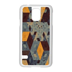 Apophysis Isometric Tessellation Orange Cube Fractal Triangle Samsung Galaxy S5 Case (white) by Mariart
