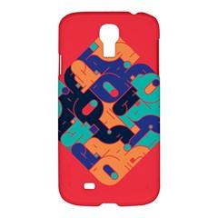 Plaid Red Sign Orange Blue Samsung Galaxy S4 I9500/i9505 Hardshell Case by Mariart