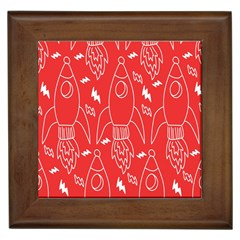 Moon Red Rocket Space Framed Tiles by Mariart