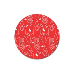 Moon Red Rocket Space Magnet 3  (round) by Mariart