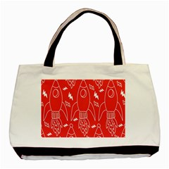 Moon Red Rocket Space Basic Tote Bag by Mariart