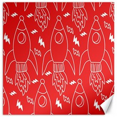 Moon Red Rocket Space Canvas 20  X 20   by Mariart