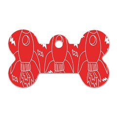 Moon Red Rocket Space Dog Tag Bone (one Side) by Mariart