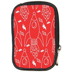 Moon Red Rocket Space Compact Camera Cases by Mariart