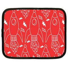 Moon Red Rocket Space Netbook Case (xl)  by Mariart