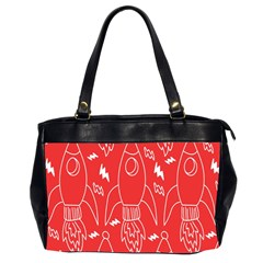 Moon Red Rocket Space Office Handbags (2 Sides)  by Mariart